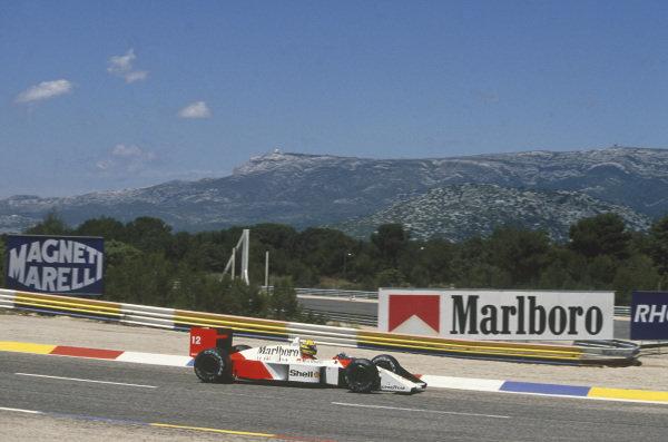 Paul Ricard, Le Castellet, France. 1st - 3rd July 1988. Ayrton Senna (McLaren MP4/4-Honda), 2nd position, action. World Copyright: LAT Photographic. Ref: 88FRA 38