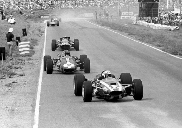 John Love (RHO) Cooper T79, 2nd place leads Dan Gurney(USA) Eagle T1G and Jo Siffert(SUI) Cooper T81