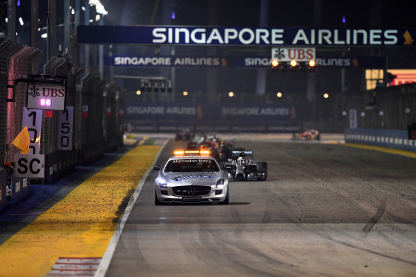 Safety Car leads the field. Formula One World Championship, Rd14, Singapore Grand Prix, Marina Bay Street Circuit, Singapore, Race Day, Sunday 21 September 2014.