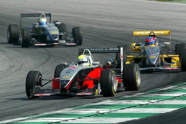 Charles Zwolsmann (NED) Team Kolles Racing Dallara Mercedes leads Timo Glock (GER) OPC Team KMS Dallara Opel.