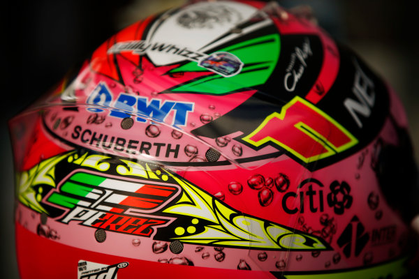 Sochi Autodrom, Sochi, Russia. Saturday 29 April 2017. Sergio Perez, Force India, crash helmet detail. World Copyright: Andy Hone/LAT Images ref: Digital Image _ONZ1260