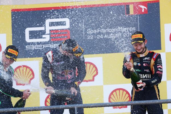 2014 GP3 Series Round 6. Spa-Francorchamps, Spa, Belgium. Sunday 24 August 2014. Alex Lynn (GBR, Carlin)  & Alex Fontana, (SUI, ART Grand Prix)  Photo: Sam Bloxham/GP3 Series Media Service. ref: Digital Image _SBL7098