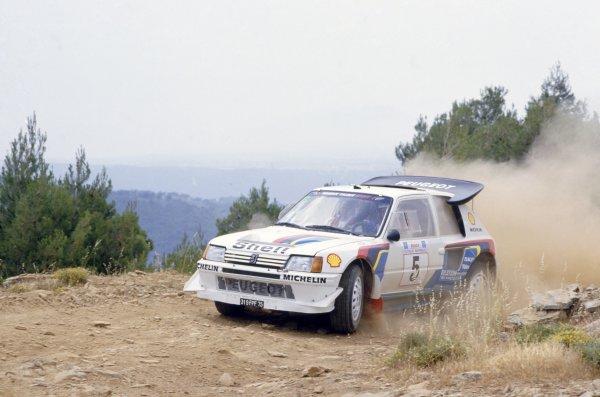 1986 World Rally Championship. Acropolis Rally, Greece. 2nd - 4th June 1986. Juha Kankkunen/Juha Piironen (Peugeot 205 T16 E2), 1st position, action.  World Copyright: LAT Photographic Ref: 35mm transparency 86RALLY05