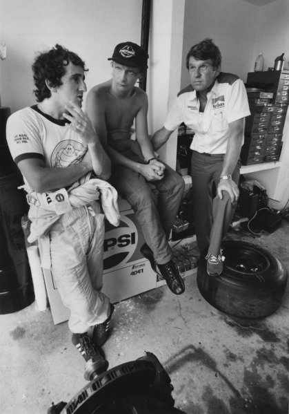 Rio de Janeiro, Brazil. 19-21 March 1982. Niki Lauda (McLaren MP4/1B-Ford Cosworth), retired. World Copyright: LAT Photographic. Ref: B/W Print. with Alain Prost (Renault RE30C), 1st position and Tyler Alexander, portrait. World Copyright: LAT Photographic. Ref: B/W Print.