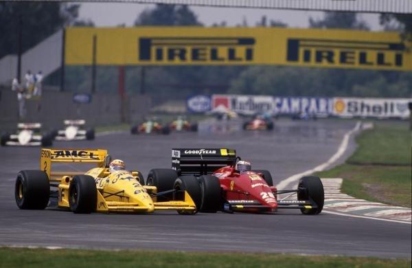 Gerhard Berger (AUT) Ferrari F187, 3rd place, passes Satoru Nakajima (JPN) Lotus 100T, DNF Mexican Grand Prix, Mexico City, 29 May 1988