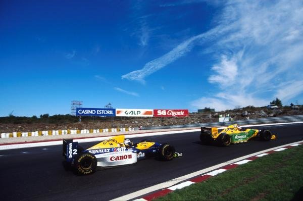 Michael Schumacher leads Alain Prost Portuguese Grand Prix, Estoril, 26 September 1993