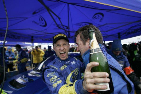 2005 FIA World Rally Championship Round 2, Swedish Rally. 10th - 13th February 2005. Petter Solberg, (Subaru Impreza WRC), 1st position, celebrates with champagnye, portrait. World Copyright: McKlein/LAT Photographic. ref: Digital Image Only.