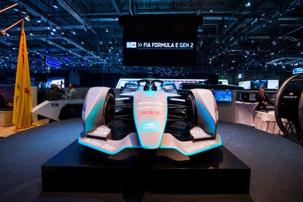 2017/2018 FIA Formula E Championship. Geneva Motor Show Tuesday 6 March 2018. The FIA Formula-E Gen2 car is unveiled. Photo: Sam Bloxham/LAT/Formula E ref: Digital Image _W6I3882