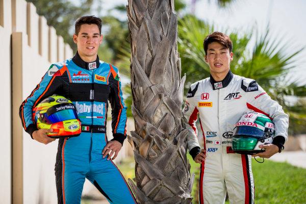 2017 GP3 Series Round 8.  Yas Marina Circuit, Abu Dhabi, United Arab Emirates. Thursday 23 November 2017. Nirei Fukuzumi (JPN, ART Grand Prix), Alessio Lorandi (ITA, Jenzer Motorsport). Photo: Zak Mauger/GP3 Series Media Service. ref: Digital Image _X0W7440
