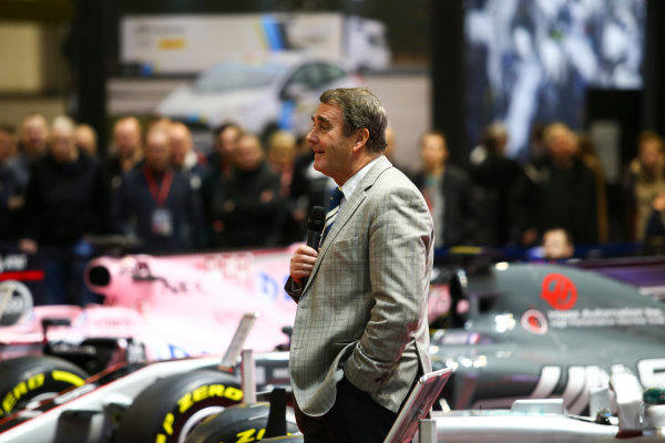 Autosport International Exhibition. National Exhibition Centre, Birmingham, UK. Sunday 14th January 2018. Nigel Mansell talks on the F1 Racing Stand.World Copyright: Mike Hoyer/JEP/LAT Images Ref: MDH19907
