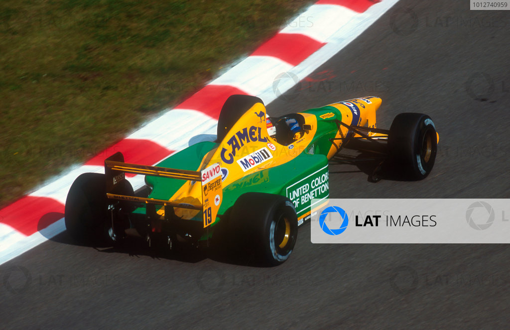 1992 Belgian Grand Prix.Spa-Francorchamps, Belgium.28-30 August 1992.Michael Schumacher (Benetton B192 Ford) 1st position and his maiden Grand Prix win.Ref-92 BEL 14.World Copyright - LAT Photographic