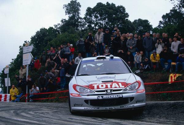 2002 World Rally ChampionshipTour De Corse, Corsica. 8th - 10th March 2002.Gilles Panizzi / Herve Panizzi, Peugeot 206 WRC, 1st position overall. World Copyright: McKlein/LAT Photographicref: 35mm Image 02 WRC 05