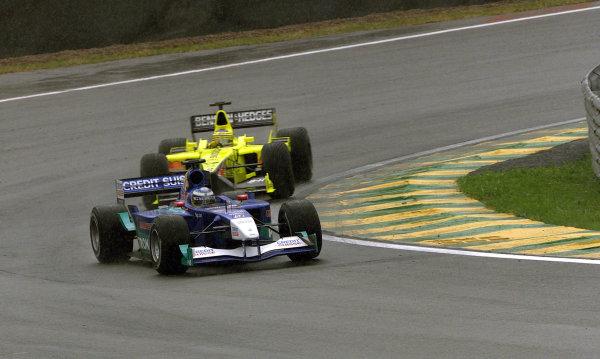 2001 Brazilian Grand Prix.Interlagos, Sao Paulo, Brazil. 30/3-1/4 2001.Nick Heidfeld (Sauber C20 Petronas) followed by Jarno Trulli (Jordan EJ11 Honda).World Copyright -Steve Etherington/LAT Photographic ref: 18MB Digital