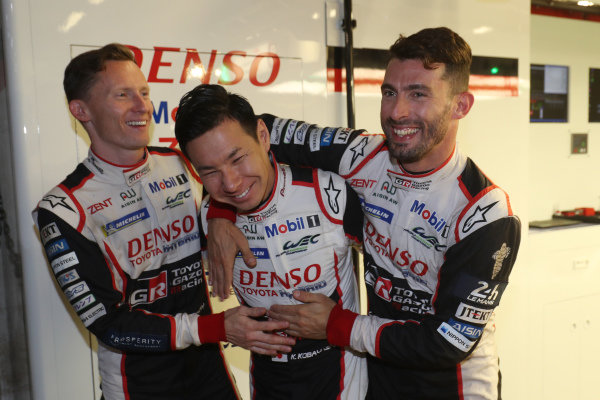 #7 Toyota Gazoo Racing Toyota TS050: Mike Conway, Jose Maria Lopez, Kamui Kobayashi celebrate pole position for the Le Mans 24 Hours
