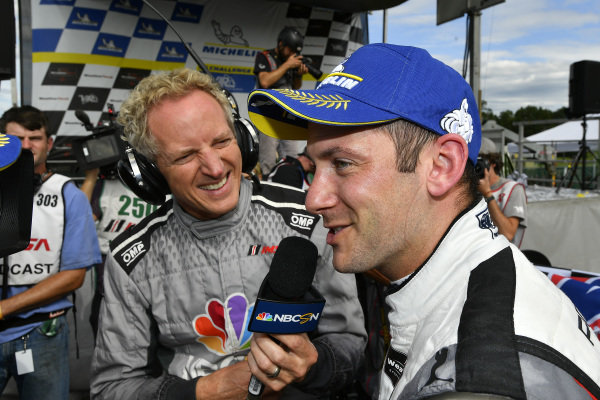 #911 Porsche GT Team Porsche 911 RSR, GTLM: Nick Tandy, talks with NBC TV Jon Beekhuis in victory lane