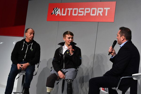 Billy Monger (GBR) talks with Henry Hope-Frost (GBR) on the main stage  at Autosport International, Day Two, NEC, Birmingham, England, Friday 12 January 2018.