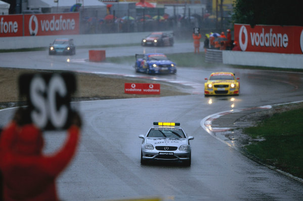 2002 DTM Championship, Zolder, Belgium. Rd 2, 4th-5th May 2002.The safety car was used on different occasions throughout the race but caused confusion for Michael Bartels seen here running in third behind Aiello and Ekstrom. World Copyright: Lawrence/LAT Photographic