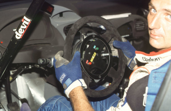WRC Neste Rally of Finland 200017th - 20th August 2000. Rd 9/13.The Peugeot steering wheel details.Photo:McKlein/LATRef 35mm A14