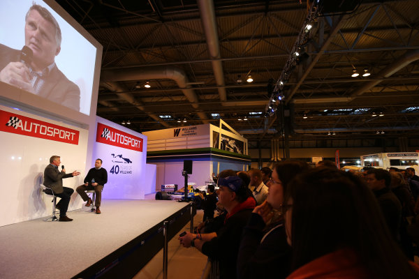 Autosport International Exhibition. National Exhibition Centre, Birmingham, UK. Saturday 14 January 2017. Johnny Herbert is interviewed by Henry Hope-Frost on the Autosport Stage. World Copyright: James Roberts/Ebrey/LAT Photographic. Ref: JR2_7947