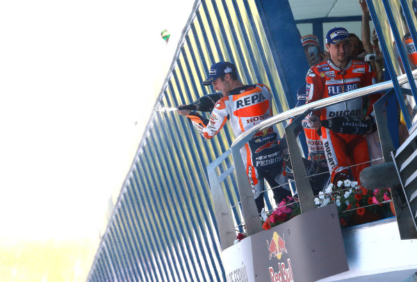 2017 MotoGP Championship - Round 4 Jerez, Spain Sunday 7 May 2017 Podium: Race winner Dani Pedrosa, Repsol Honda Team, second place Marc Marquez, Repsol Honda Team World Copyright: Gold & Goose Photography/LAT Images ref: Digital Image 668748