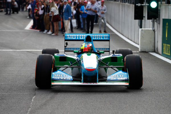 Spa Francorchamps, Belgium.  Sunday 27 August 2017. Mick Schumacher drives a Benetton B194 originally driven by his father Michael Schumacher in the 1994 World Championships. World Copyright: Glenn Dunbar/LAT Images  ref: Digital Image _31I6670