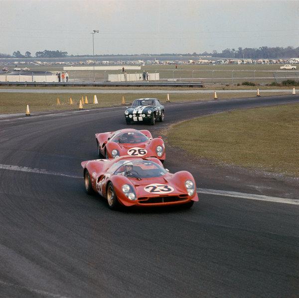 Daytona, Florida, USA. 4-5 February 1967.Lorenzo Bandini/Chris Amon (Ferrari 330P4 Spyder), 1st position, action. World Copyright: LAT PhotographicRef: Colour Transparency.