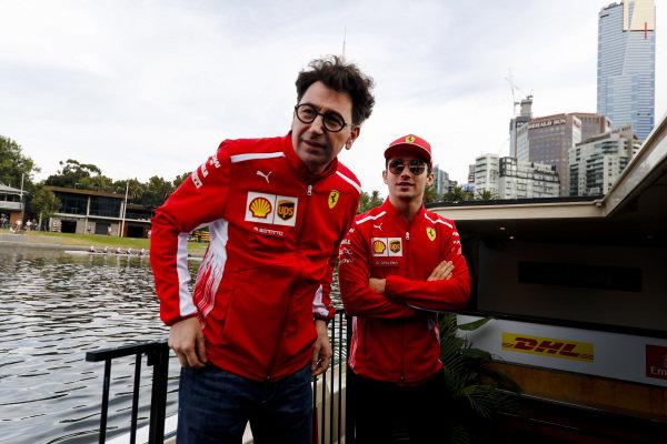 Mattia Binotto, Team Principal Ferrari and Charles Leclerc, Ferrari Mattia Binotto, Team Principal Ferrari on the way to the Federation Square event.