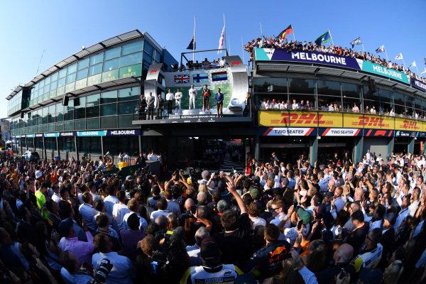 A huge crowd gathered beneath the podium