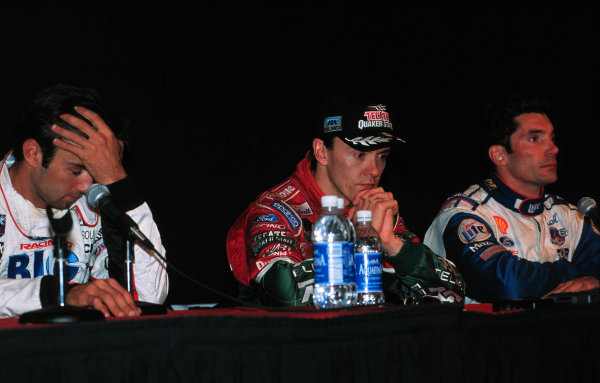 1999 CART California 500, California Speedway 31/10/99Fittipaldi, Fernandez, and Papis at the press conference-1999, Michael L. Levitt / USALAT PHOTOGRAPHIC