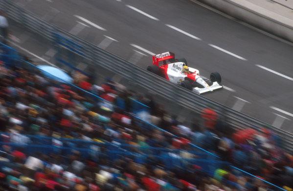 1991 Monaco Grand Prix.Monte Carlo, Monaco.26-28 April 1991.Ayrton Senna (McLaren MP4/6 Honda) 1st position.Ref-91 MON 20.World Copyright - LAT Photographic