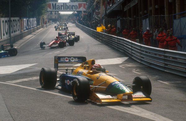 1991 Monaco Grand Prix.Monte Carlo, Monaco.26-28 April 1991.Nelson Piquet (Benetton B191 Ford) retires down the Mirabeau slip road on the first lap with a collapsed left rear suspension, after being hit by Berger at the start.Ref-91 MON 21.World Copyright - LAT Photographic