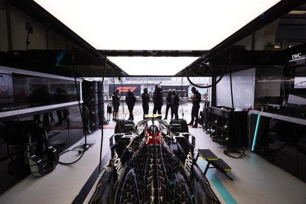 Car of Valtteri Bottas, Mercedes F1 W11 EQ Performance in the garage