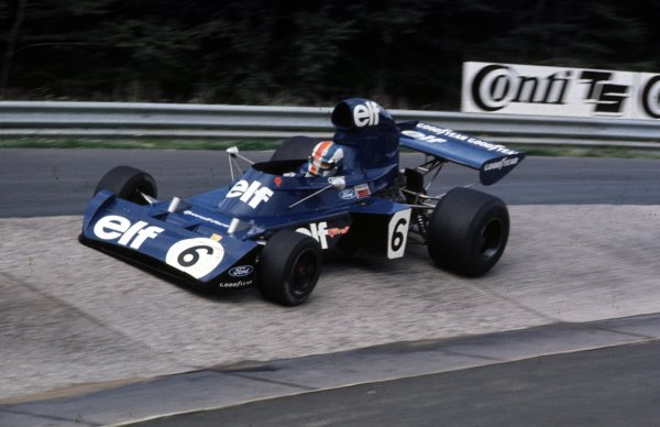 1973 German Grand Prix.Nurburgring, Germany.3-5 August 1973.Francois Cevert (Tyrrell 006 Ford) 2nd position at the Karussell.Ref-73 GER 03.World Copyright - LAT Photographic