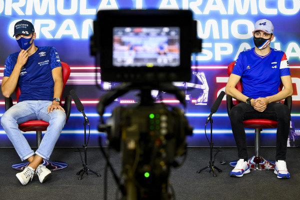 George Russell, Williams and Esteban Ocon, Alpine F1 in the Press Conference