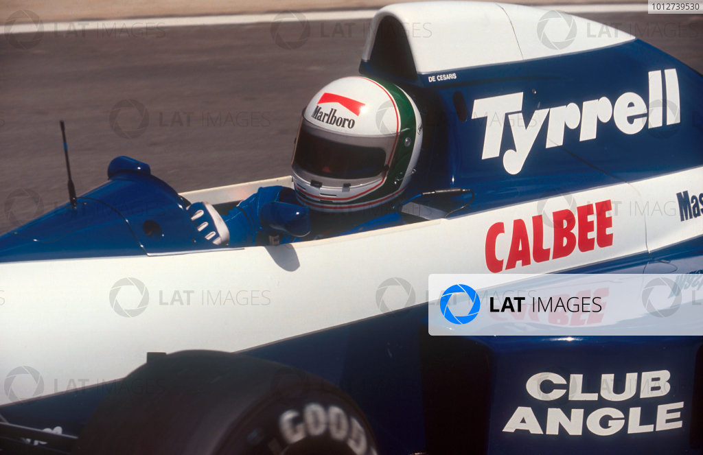 1992 South African Grand Prix.Kyalami, South Africa.28/2-1/3 1992.Andrea de Cesaris (Tyrrell 020B Ilmor). He exited the race with an engine misfire.Ref-92 SA 10.World Copyright - LAT Photographic