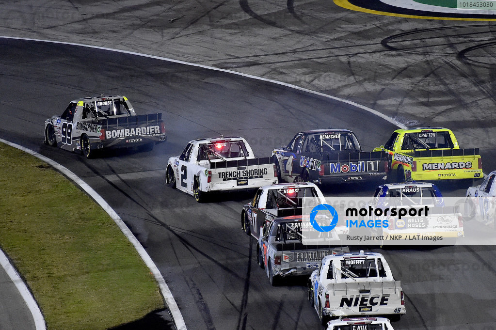 #99: Ben Rhodes, ThorSport Racing, Toyota Tundra Bombardier LearJet 75 and #2: Sheldon Creed, GMS Racing, Chevrolet Silverado