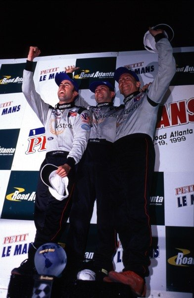 1999 American Le Mans Series.Road Atlanta, USA.17-19 September 1999.David Brabham, Eric Bernard and Andy Wallace (Panoz) after finishing in 1st position.World - Tee/LAT Photographic