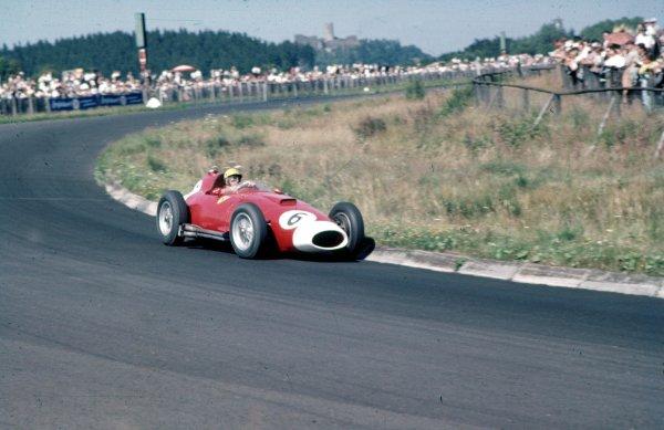 1957 German Grand Prix.Nurburgring, Germany.2-4 August 1957.Luigi Musso (Lancia-Ferrari D50 801) 4th position.Ref-57 GER 02.World Copyright - LAT Photographic