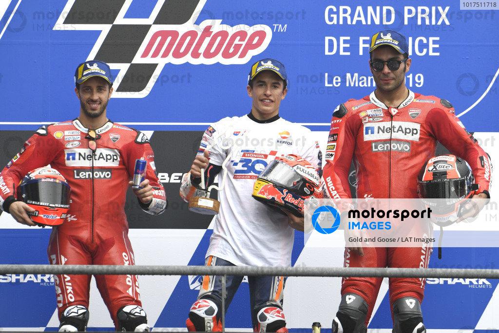 Podium: race winner Marc Marquez, Repsol Honda Team, second place Andrea Dovizioso, Ducati Team, third place Danilo Petrucci, Ducati Team.