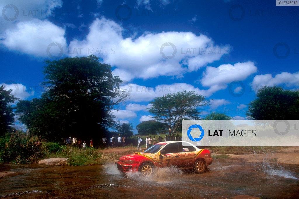 1994 World Rally Championship Safari Rally, Kenya, 1994. Richard Burns' first WRC start. Subaru Impreza, action. World Copyright: LAT Photographic
