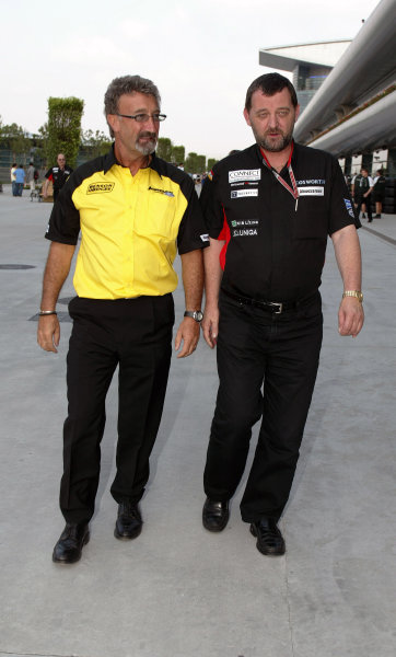 2004 Chinese Grand Prix - Thursday, Shanghai, China. 23rd September 2004  Eddie Jordan and Paul Stoddart, the two team owners potentially left without an engine deal for the 05 season. World Copyright: Steve Etherington/LAT Photographic  ref: Digital Image Only