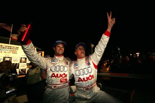 2004 American Le Mans Series (ALMS)Laguna Seca, California, USA. 15 - 16 October.Kaffer and Herbert celebrate their victory.World Copyright: Richard Dole/LAT Photographicref: Digital Image Only