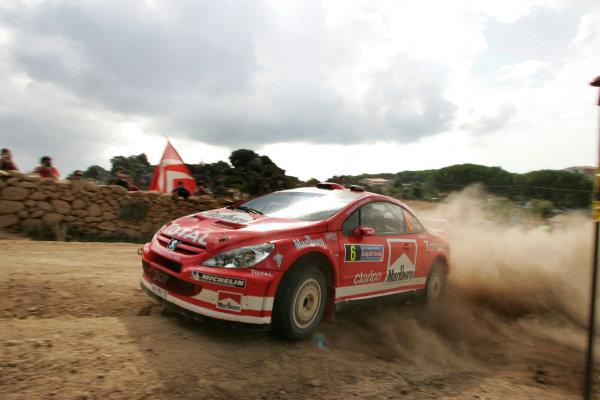 2004 FIA World Rally Champs. Round thirteen, Rally Italia Sardinia.30th September - 3rd October 2004.Harri Rovanpera, Peugeot, actionWorld Copyright: McKlein/LAT
