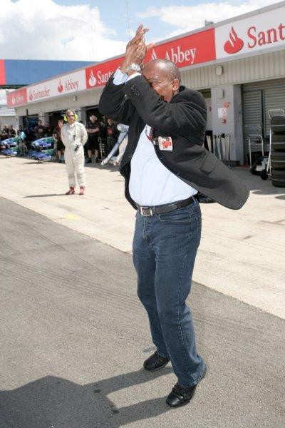 2007 British Grand Prix - Saturday QualifyingSilverstone, Northamptonshire, England.7th July 2007.Lewis Hamilton's father Anthony celebrates Pole Position at the British GP. Portrait.World Copyright: Steven Tee/LAT Photographicref: Digital Image YY2Z5612