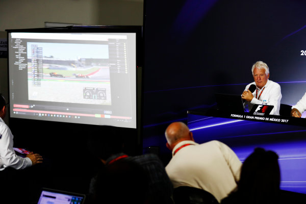 Autodromo Hermanos Rodriguez, Mexico City, Mexico. Thursday 26 October 2017. Charlie Whiting, Race Director, FIA, holds a press conference about the controversial Max Verstappen, Red Bull Racing, overtake on Kimi Raikkonen, Ferrari, at the previous race in Austin. World Copyright: Sam Bloxham/LAT Images  ref: Digital Image _W6I9044