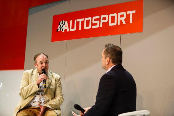 Autosport International Exhibition. National Exhibition Centre, Birmingham, UK. Thursday 11th January 2017. Bruce Wood of Cosworth talks to Henry-Hope Frost on the Autosport stage,World Copyright: Joe Portlock/LAT Images Ref: _U9I9864