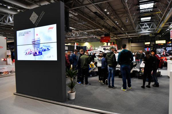 Autosport International Exhibition. National Exhibition Centre, Birmingham, UK. Friday 12th January 2018. The Bahrain International Circuit stand.World Copyright: Mark Sutton/Sutton Images/LAT Images Ref: DSC_8124