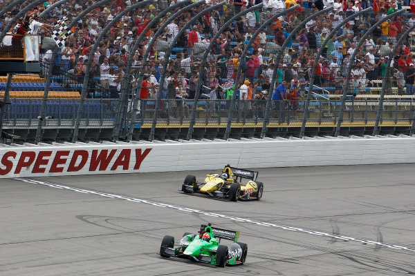 22-23 June, 2013,Newton, Iowa, USA James Hinchcliffe takes the checkered flag to win the Iowa Corn 250 in Newton, Iowa .(c) 2013, Perry Nelson LAT Photo USA