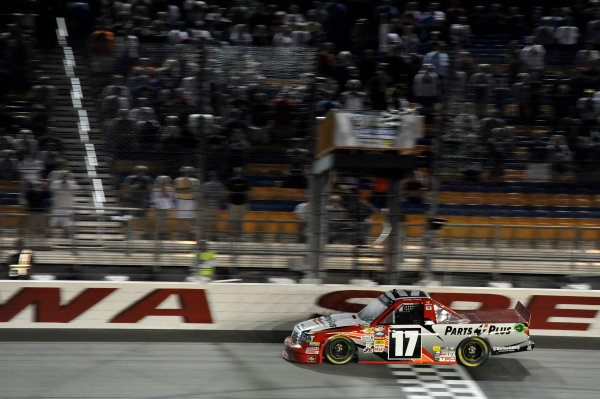12-13 July, 2013, Newton, Iowa USA Timothy Peters crosses the line for the win under the checkered flag. ©2013, Scott R LePage LAT Photo USA