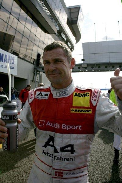 Tom Kristensen (DK) Audi Sport Team Abt  Audi A4 DTM (2008), celebrates his pole position.DTM, Rd10, Le Mans Bugatti Circuit, Le Mans, France, 3-5 October 2008.